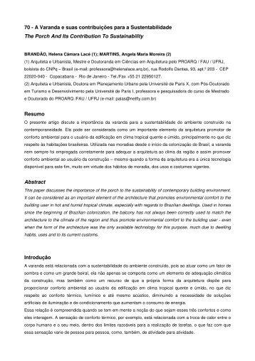 70 - A Varanda e suas contribuições para a Sustentabilidade ... - USP