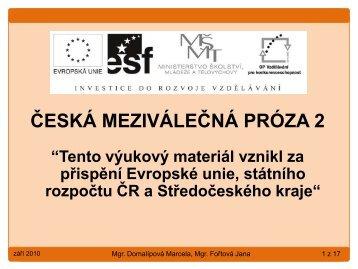 Česká meziválečná próza 2