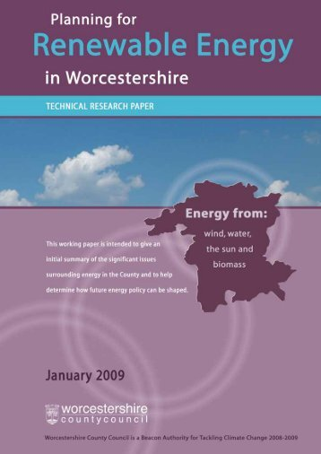 Planning for Renewable Energy in Worcestershire Research Paper