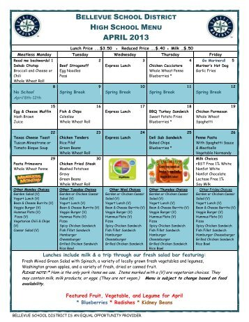 Breakfast/Lunch Menu - Bellevue School District