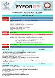 eyfor-ııı eğitim yönetimi forumu programı - Nevşehir Üniversitesi