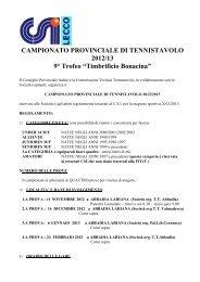 CAMPIONATO PROVINCIALE DI TENNISTAVOLO - CSI Lecco