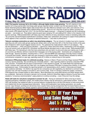 Friday, May 22, 2009 Newsroom: (800) 290-6301