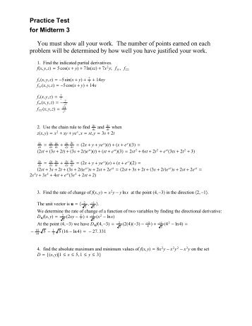 Solutions to Practice Test 3