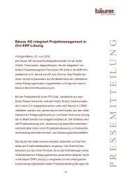 Bäurer AG integriert Projektmanagement in ihre ERP-Lösung