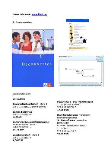 Unser Lehrwerk: www.klett.de 2. Fremdsprache: Begleitmaterialien ...