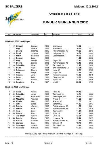 Kinderskirennen Skiclub Balzers - Scbalzers.li