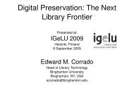 Digital Preservation: The Next Library Frontier - IGeLU