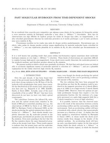 fast molecular hydrogen from time-dependent shocks - Universidad ...