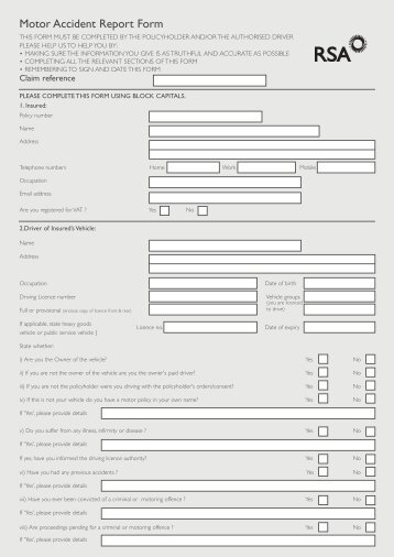 Download Your Motor Accident Report Form - 123 Ie