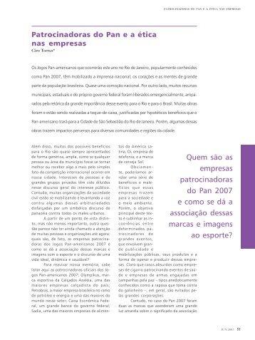 Patrocinadores do Pan e a ética nas empresas - Ibase
