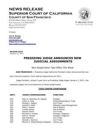 Presiding Judge Announces New Judicial Assignments