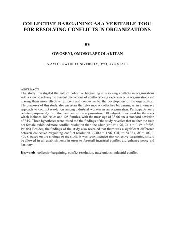 collective bargaining as a veritable tool for resolving conflicts in ...