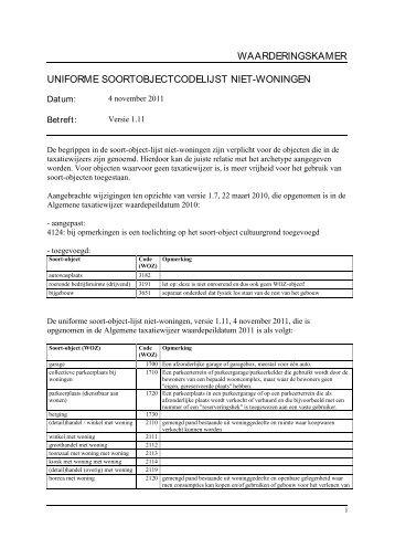 waarderingskamer uniforme soortobjectcodelijst niet-woningen