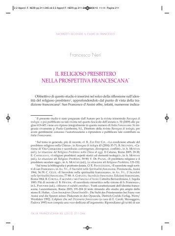 NERI F., Il religioso presbitero nella prospettiva francescana - Frati ...