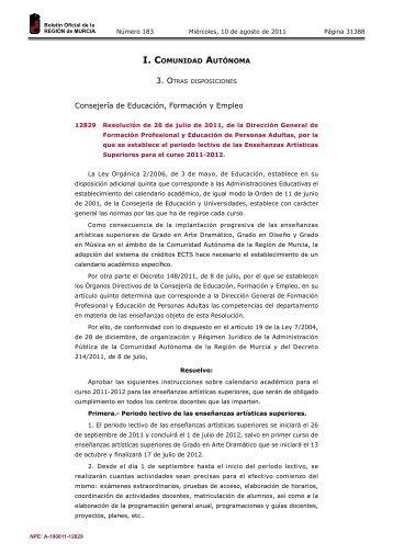 Publicación número 12829 del BORM número 183 de 10 ... - Educarm