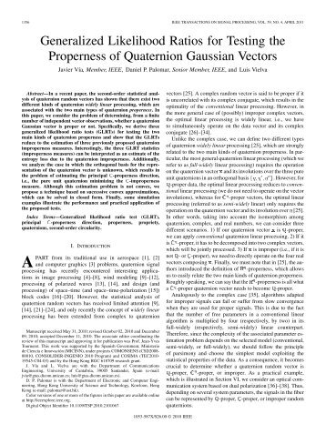 Generalized Likelihood Ratios for Testing the Properness of ...