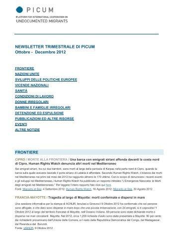 NEWSLETTER TRIMESTRALE DI PICUM Ottobre - Decembre 2012 ...