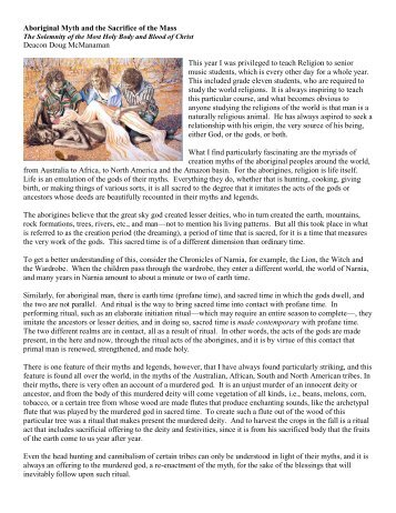 Aboriginal Myth and the Sacrifice of the Mass