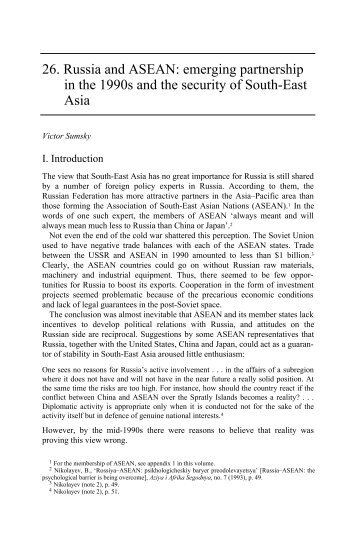 Russia and Asia: The Emerging Security Agenda - Publications