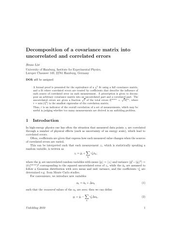 Decomposition of a covariance matrix into uncorrelated and ...