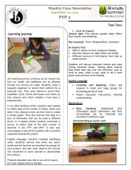 Weekly Class Newsletter