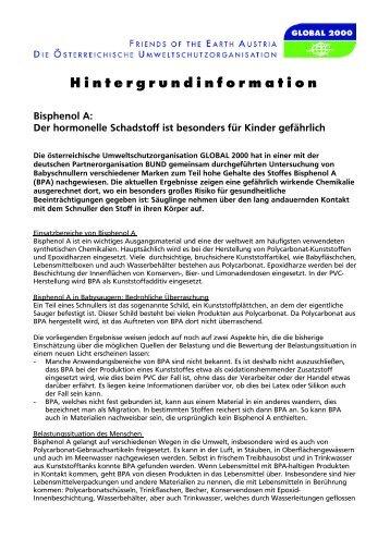 Hintergrundinformation Bisphenol A - Global 2000