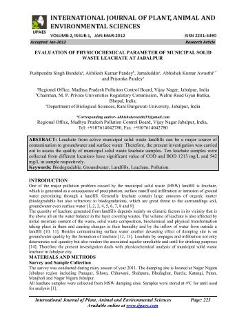 EVALUATION OF PHYSICOCHEMICAL PARAMETER ... - Ijpaes.com