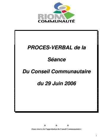 PROCES-VERBAL de la Séance Du Conseil Communautaire du 29 ...