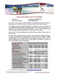 Special packages prices for Aitutaki - Island Hopper Vacations
