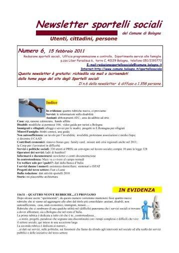 Newsletter sportello sociale n°6 (febbraio 2011) - Comune di Bologna