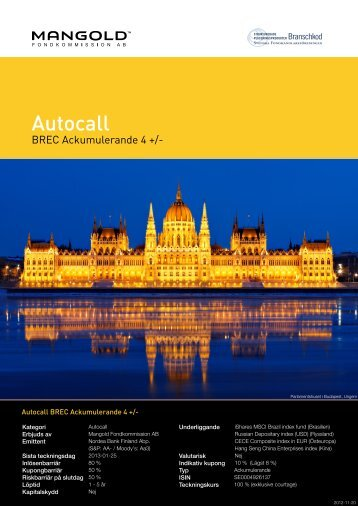 autocall brec ackumulerande 4 + - Mangold Fondkommission