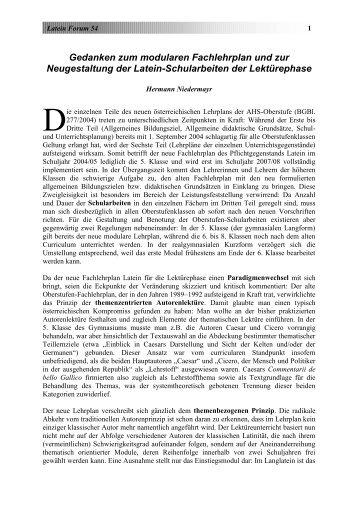 Gedanken zum neuen modularen Lehrplan (pdf, 69KB) - Latein Forum