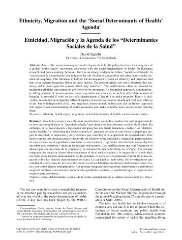 Ethnicity, Migration and the 'Social Determinants of Health'Agenda ...