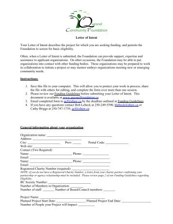 Letter of Intent - Quesnel Community Foundation