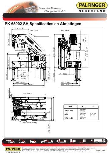 PK 65002 SH Specificaties en Afmetingen - Palfinger