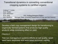 Transitional dynamics in converting conventional cropping systems to