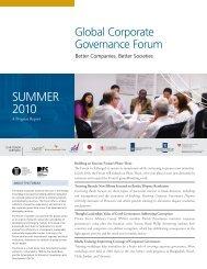 Forum Progress Report: Summer 2010 - IFC