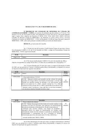 Resolução CAMEX nº 91, de 27/12/2010. - Ministério do ...