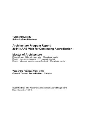 NAAB Architecture Program Report (APR) 2013 - Tulane School of ...