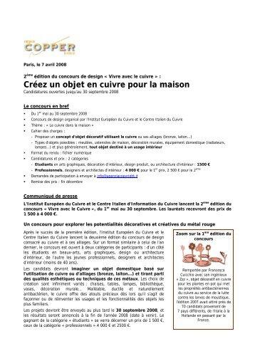 Concours design Cuivre 2008.pdf - Le Centre d'Information du ...