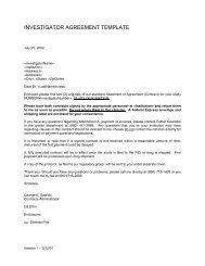 investigator agreement template - University of Pennsylvania