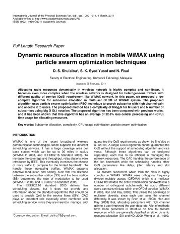 Dynamic resource allocation in mobile WiMAX using particle swarm ...