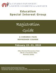 refresher course registration guide 2010 - The Canadian Pain Society