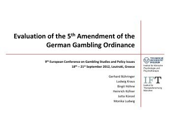 Evaluation of the 5th Amendment of the German Gambling Ordinance