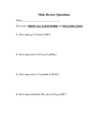 worksheet mole problems - Volunteercenter