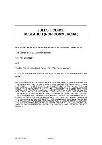 JULES Terms and Conditions