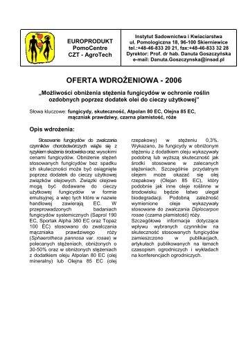 Możliwości obniżenia stężenia fungicydów w ochronie roślin ...
