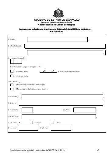 formulario de registro cadastral _mantenedota - Secretaria de ...