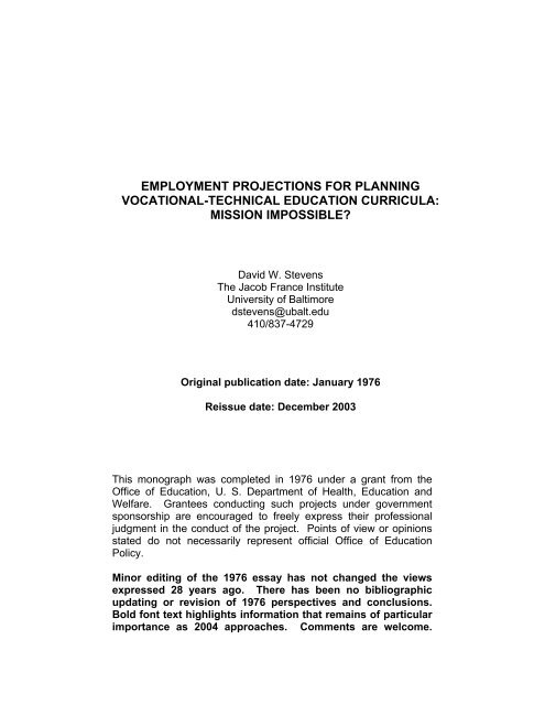 employment projections for planning vocational technical education